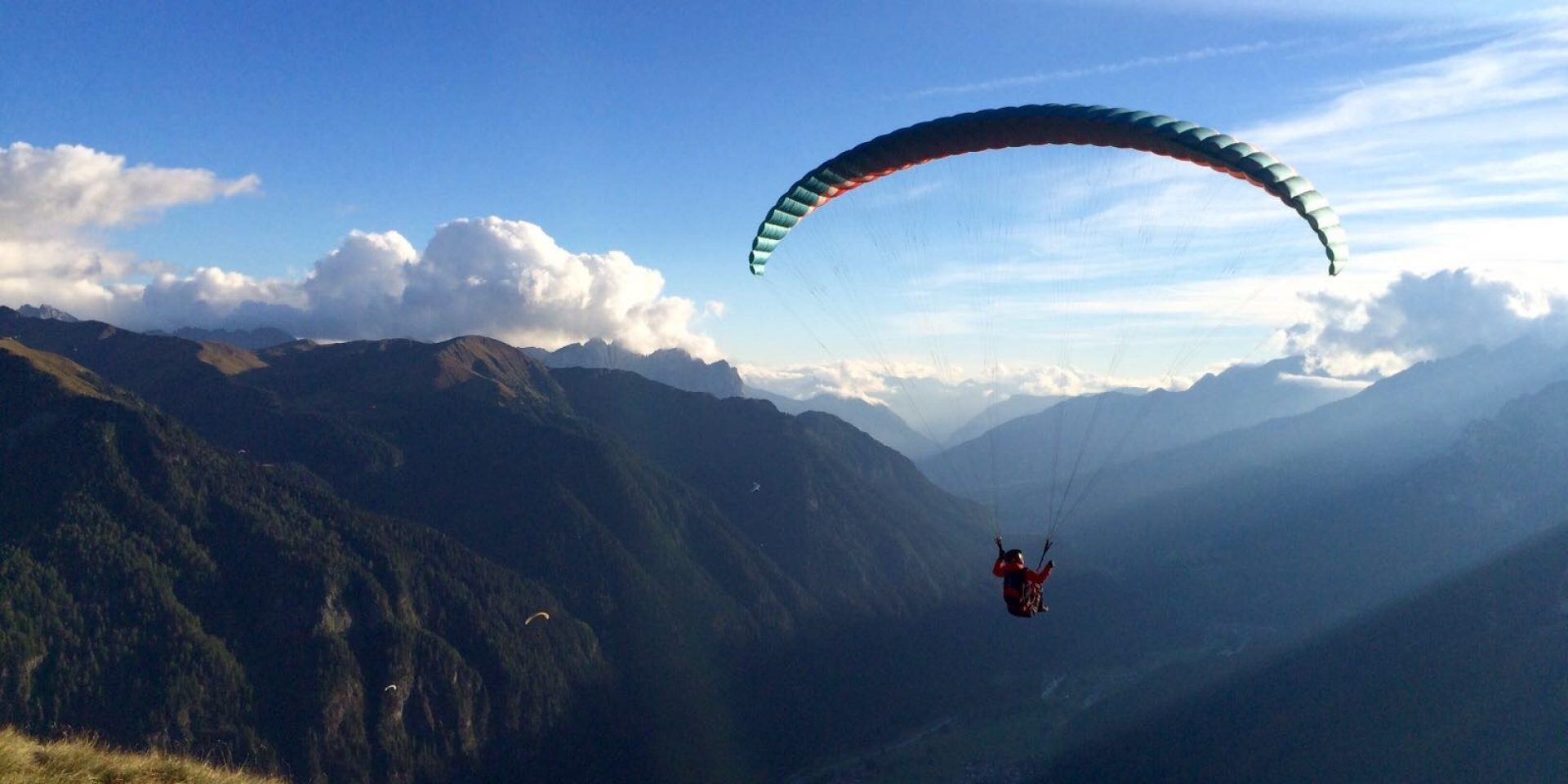 Sunrise paraglinding flight