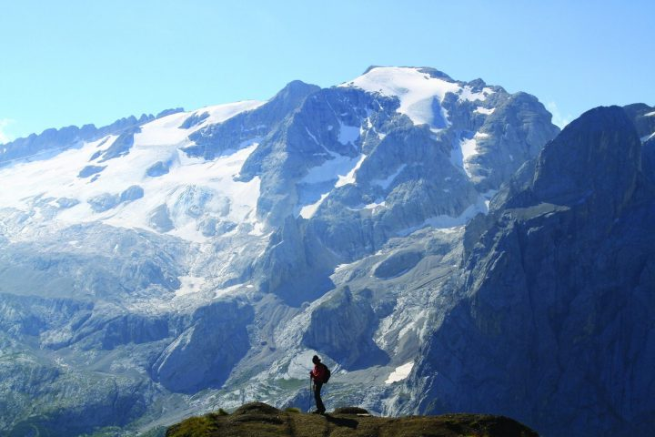 The sources of Marmolada glacier