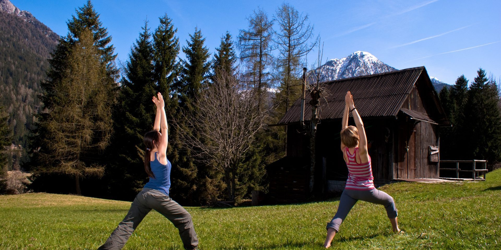 Evening Bio pilates with Dolomites view
