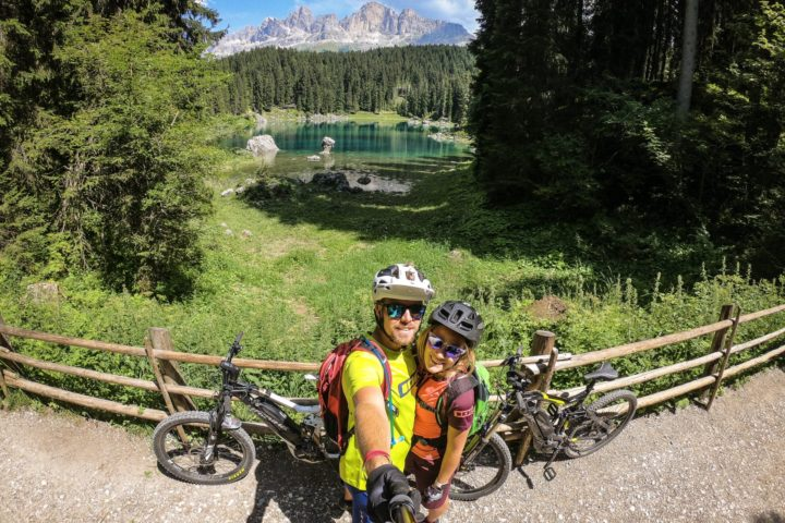 Carezza lake and Latemar on e-bike